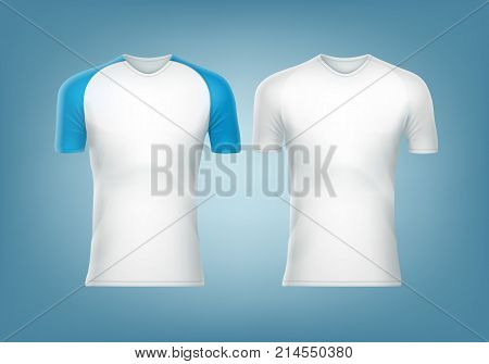 Vector raglan t-shirt with blue short sleeve and white t-shirt in front view isolated on background