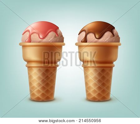 Vector set of ice creams in waffle cones sprinkled with syrup isolated on background