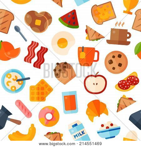Breakfast food healthy vector icons meal and drinks flat design bread egg lunch healthy breakfast menu restaurant vector. Cooking fruit kitchen breakfaster snack seamless pattern background