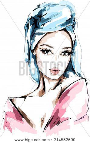Hand drawn beautiful woman portrait. Fashion woman with bath towel on her head. Sketch. Vector illustration.