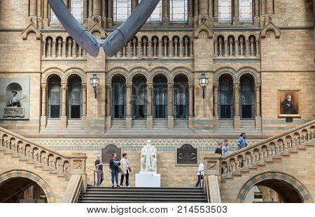 The Natural History Museum, London-September 6,2017: Visitors are looking at the interior of the main hall of The Natural History Museum on September 6, 2017 in London United Kingdom