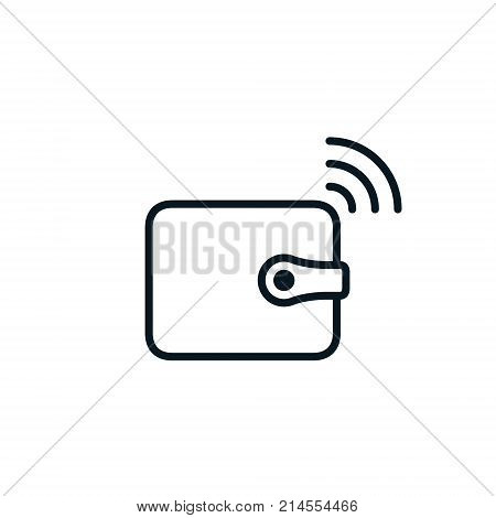 Wallet mobile banking payment line icon. Vector online banking isolated outline symbol.