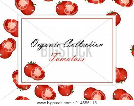 Vintage poster template for tomato label. Retro vegetables label design. natural product closeup on background. symbol for sauce product label or grocery store, shop and farm market design. Vector square label. Organic collection