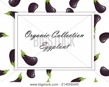 whole ripe vegetable purple eggplant, with green stem. Eggplant drawing seamless pattern. Symbol for sauce product label or grocery store, shop and farm market design. Organic collection