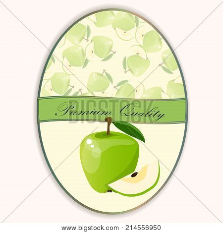 logo of fresh green apple juice. Vector round label, apple jam, sauce or juice label on a seamless pattern background with soft shadow