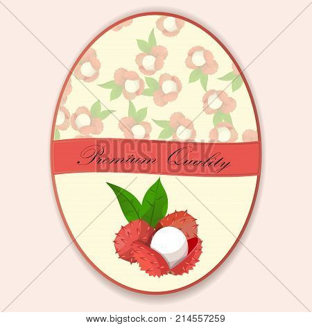 Vintage fruit poster or label design with Lychee. Fresh and juicy lychee. Vector round label, lychee jam, sauce or juice label
