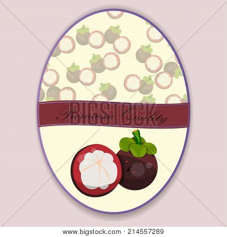 Vintage fruit poster design with fresh and juicy mangosteen. fruit symbol for jam and juice product label or grocery store, shop and farm market design. Mangosteen jam, sauce or juice label