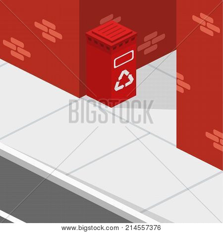 Isometric 3D Concept Vector Illustration Garbage Tank In The Lane.