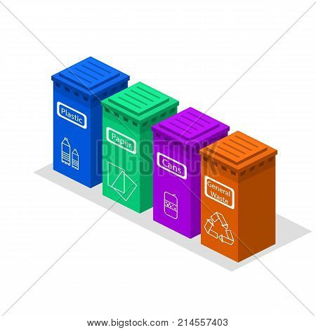 Isometric 3D Concept Vector Illustration Sorting Of Garbage In Garbage Cans By Way Of Processing