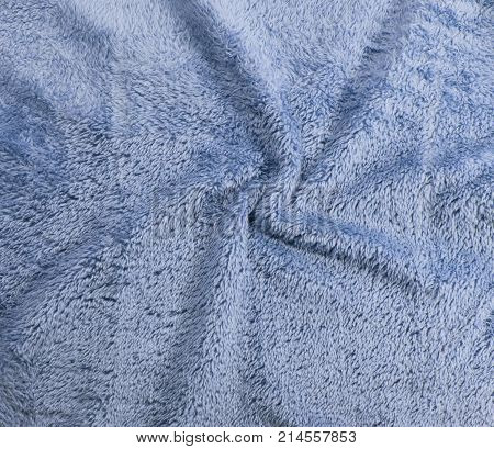 Blue rumbled Fabric Texture. Fabric background texture. Wool texture macro fabric. Textile material close-up. fiber or fleece material background