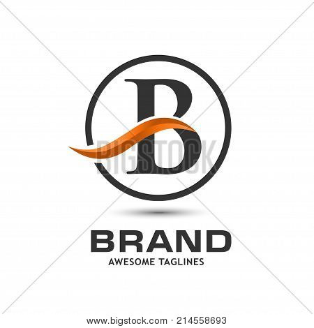 Business corporate letter B swoosh logo design template. Simple and clean flat design of letter B logo vector template. Letter B logo for business .
