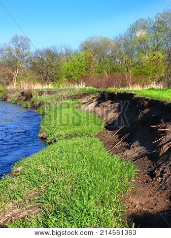 River bank erosion often occurs along meander bends such as this one in the Kishwaukee River in northern Illinois