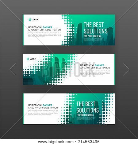 Abstract corporate horizontal banner or website slideshow template with city vector background and halftone effect for business, investment and construction.