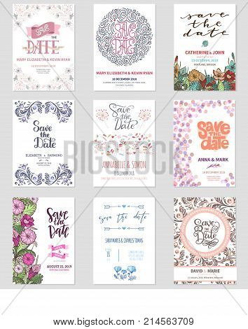 Vector Save the Date wedding floral card invitation celebration date save vintage flowers design illustration template invite isolated on white background print layout design.