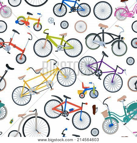 Retro bike vintage vector old fashioned cute hipster transport ride vehicle bicycles summer transportation illustration isolated on white seamless pattern background.