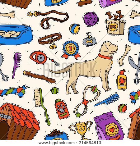 Hand drawn dog friend vector accessory canine animal pet grooming doggy toys equipment set veterinary play tool friendly sketch. Domestic puppy care accessary seamless pattern background