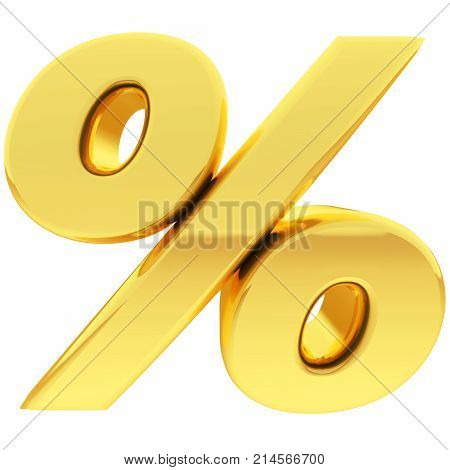Gold percent sign with gradient reflections isolated on white. High resolution 3D illustration