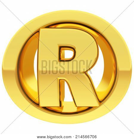 Gold registered sign with gradient reflections isolated on white. High resolution 3D illustration