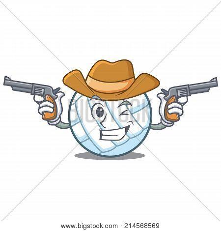 Cowboy volley ball character cartoon vector illustration