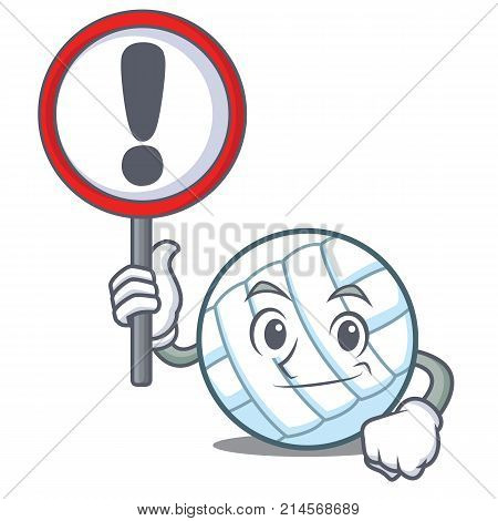 With sign volley ball character cartoon vector illustration