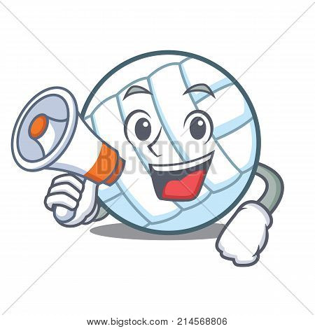 With megaphone volley ball character cartoon vector illustration