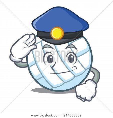 Police volley ball character cartoon vector illustration