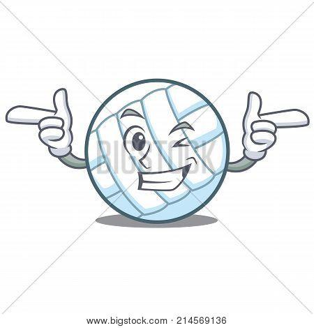 Wink volley ball character cartoon vector illustration