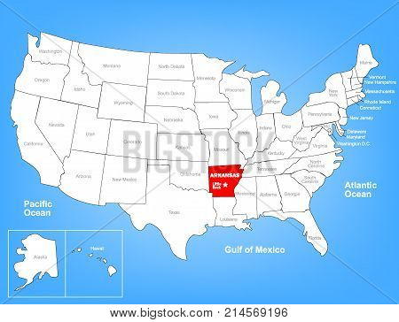 Vector Map of the United States Highlighting the State of Arkansas