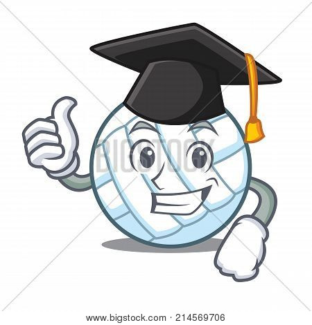 Graduation volley ball character cartoon vector illustration