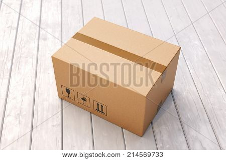 Cardboard box on porch floor in front of entrance door. Doorstep parcel delivery free shipping and online shopping concept. 3D illustration