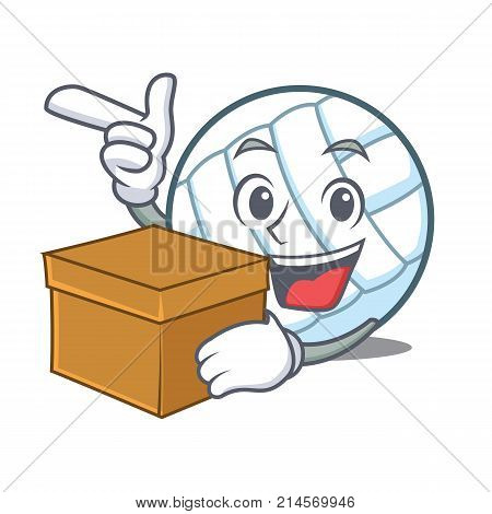 With box volley ball character cartoon vector illustration