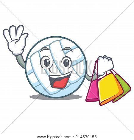 Shopping volley ball character cartoon vector illustration