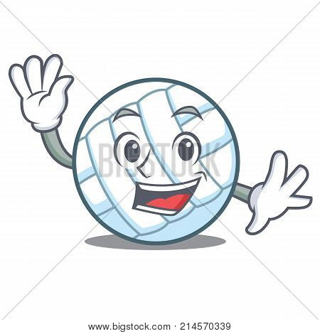 Waving volley ball character cartoon vector illustration