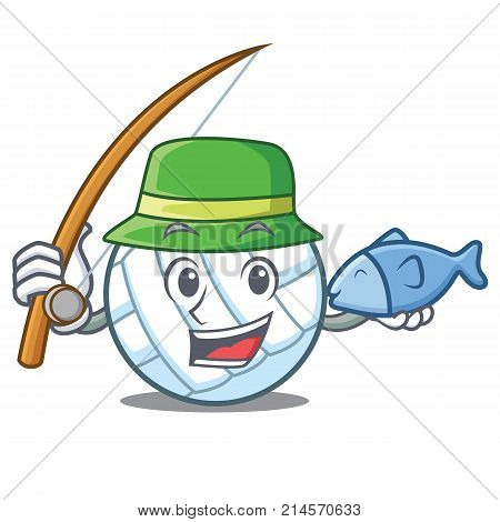 Fishing volley ball character cartoon vector illustration