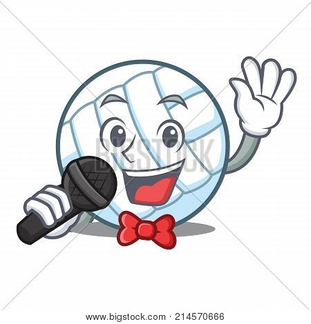 Singing volley ball character cartoon vector illustration