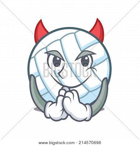 Devil volley ball character cartoon vector illustration