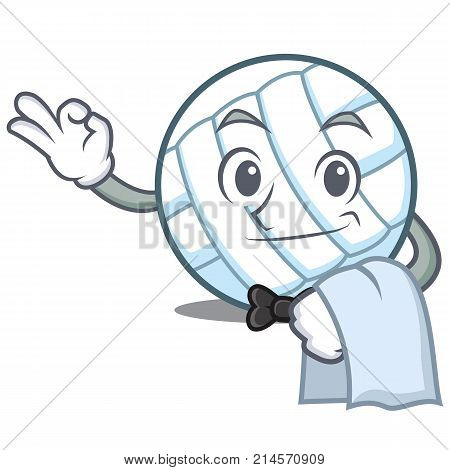 Waiter volley ball character cartoon vector illustration