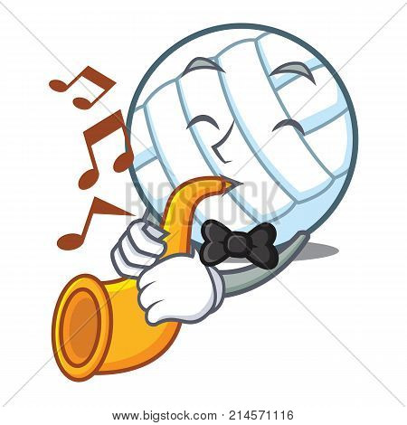 With trumpet volley ball character cartoon vector illustration