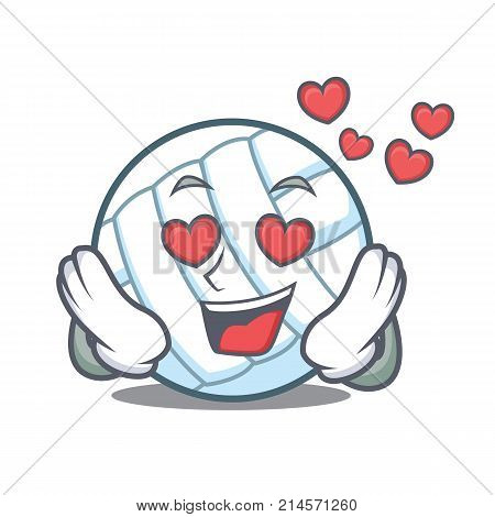 In love volley ball character cartoon vector illustration
