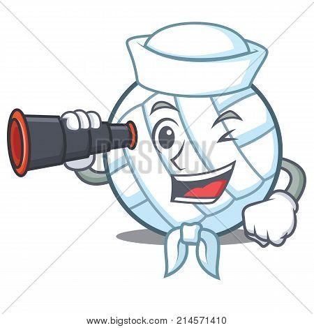Sailor with binocular volley ball character cartoon vector illustration