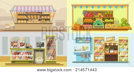 Shop counter or food store market product booth displays. Vector flat grocery vendor stands for fruits, supermarket dairy or frozen food showcase or shop-window refrigerators