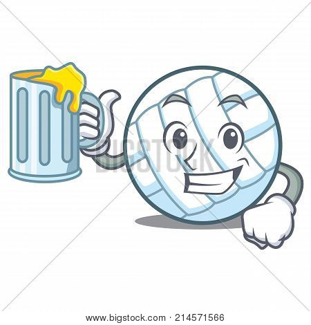 With juice volley ball character cartoon vector illustration