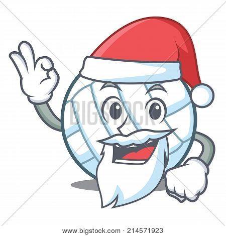 Santa volley ball character cartoon vector illustration