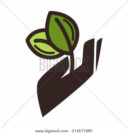 Green leaf in hand eco logo template for gardening or ecology and environment protection concept. Vector isolated symbol icon of plant sprout for earth nature conservation or planting design