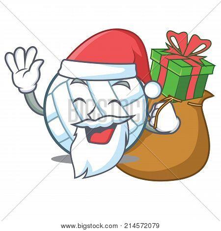 Santa with gift volley ball character cartoon vector illustration