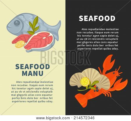 Seafood restaurant menu design template for fresh sea food and fish. Vector seafood salmon steak grill, oyster mussels or shrimp prawn, lobster crab and tuna or squid chef recipe