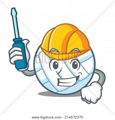 Automotive volley ball character cartoon vector illustration