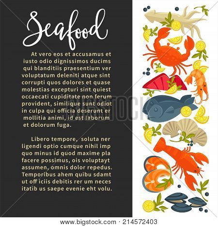 Seafood poster design of fresh fish and sea food catch for cooking recipe or gourmet restaurant menu. Vector seafood salmon steak grill, oyster mussels or shrimp prawn, lobster crab and tuna or squid