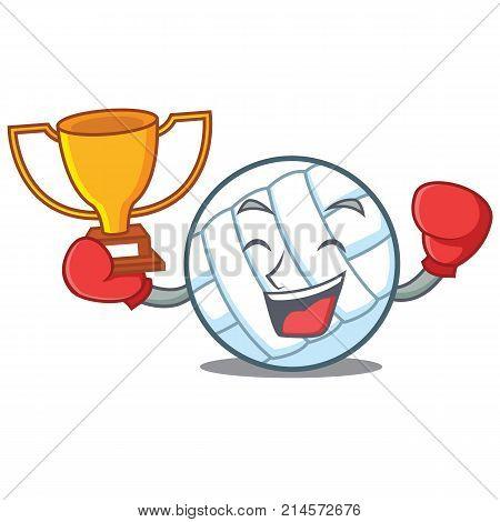 Boxing winner volley ball character cartoon vector illustration