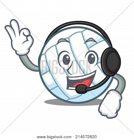 With headphone volley ball character cartoon vector illustration
